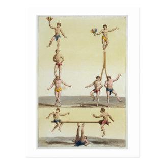 Carte Postale Mexicains exécutant la gymnastique (litho de