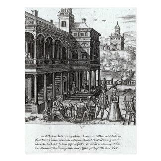 Carte Postale Michel de Nostradame étant consulté