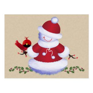 Carte postale mignonne de bonhomme de neige avec