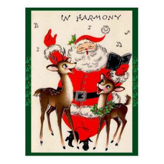 Carte postale mignonne de Noël de chant Père Noël