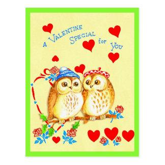 Carte postale mignonne de Valentine de hibou