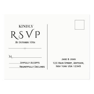 Carte postale minimale et élégante de RSVP