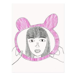 Carte Postale Miroir. Autoportrait. Regardez-moi ! !