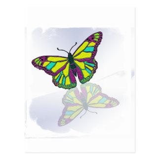 Carte Postale Miroir de miroir de réflexion de papillon sur