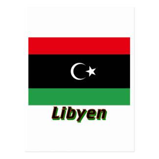 Carte Postale MIT Namen de Libyen Flagge