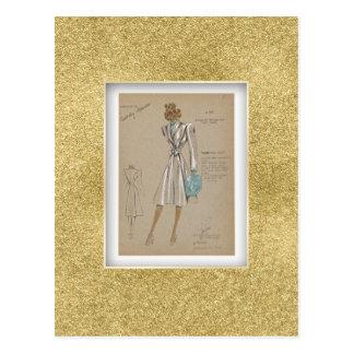 Carte Postale Mode enveloppante buttonless des années 1930 de