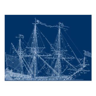 Carte Postale Modèle grand bleu de bateau de navigation