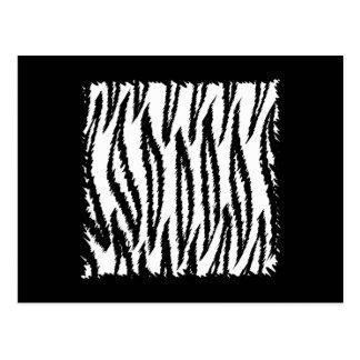 Carte Postale Modèle noir et blanc d'impression de tigre
