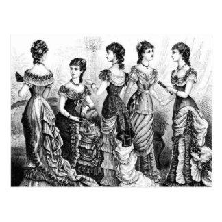 Carte Postale Modes victoriennes noires et blanches