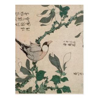 Carte Postale Moineau et magnolia par Katsushika Hokusai