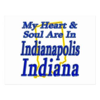 Carte Postale Mon coeur et âme sont à Indianapolis Indiana