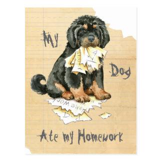 Carte Postale Mon mastiff tibétain a mangé mon travail