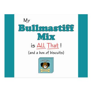 Carte Postale Mon mélange de Bullmastiff est tout cela !