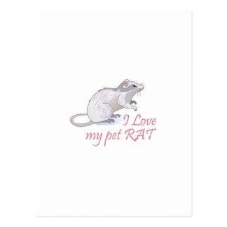 CARTE POSTALE MON RAT D'ANIMAL FAMILIER