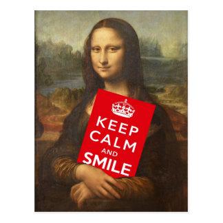 Carte Postale Mona Lisa dit gardent le calme et sourient
