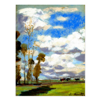 Carte Postale Monet - trois vaches dans un pâturage