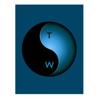 Carte Postale monogramme de yang de yin - turquoise