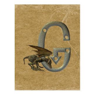 Carte Postale Monogramme G de gargouille