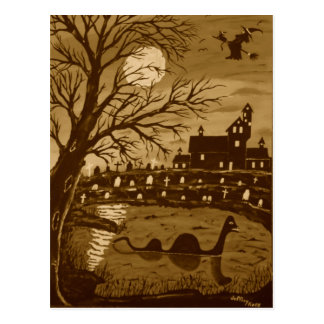 Carte Postale Monstre de Loch Ness Halloween