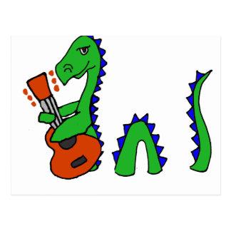 Carte Postale Monstre drôle de Loch Ness jouant l'art de guitare