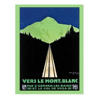 Carte Postale Mont Blanc vintage Railroad l'annonce de voyage