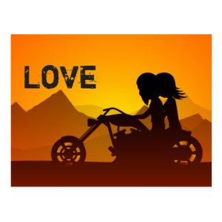 Carte Postale Montagnes d'AMOUR de couples de moto
