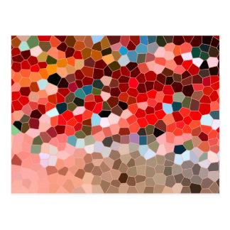 Carte Postale Mosaïque rouge de Bourgogne Brown en verre souillé