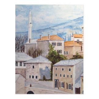 Carte Postale Mostar, Bosnie - peinture acrylique de paysage