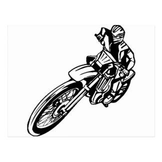 Carte Postale Motard tous terrains de moto