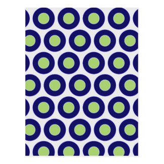 Carte Postale Motif abstrait de cercle de bleu et de vert