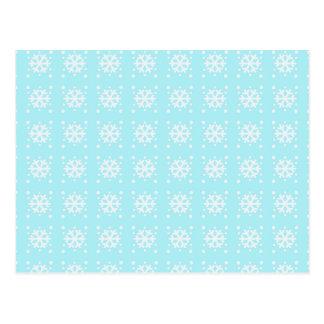 Carte Postale Motif bleu de flocon de neige d'Aqua de