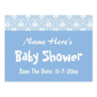 Carte Postale Motif bleu et blanc de damassé, baby shower fait