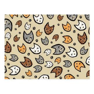Carte Postale Motif coloré de chats et de pattes sur Tan