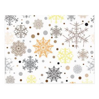 Carte Postale Motif coloré drôle de flocons de neige