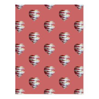 Carte Postale Motif de coeur d'amour de lard