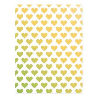 Carte Postale Motif de coeur - gradient d'agrume de chaux de