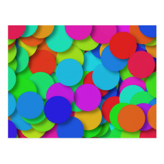 Carte Postale Motif de confettis d'arc-en-ciel