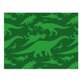 Carte Postale Motif de dinosaure vert