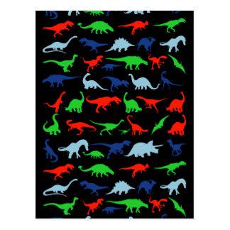 Carte Postale Motif de dinosaure vert-bleu et rouge sur le noir