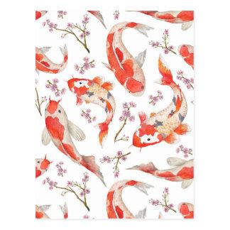 Carte Postale Motif de fleurs de cerisier de Koi