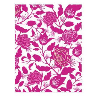 Carte Postale Motif de fleurs magenta de silhouette