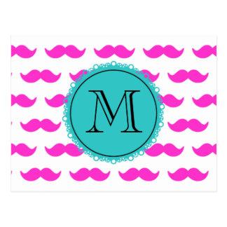 Carte Postale Motif de moustache de roses indien, monogramme
