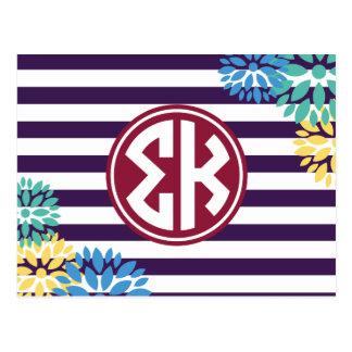 Carte Postale Motif de rayure de monogramme du Kappa | de sigma
