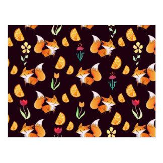 Carte Postale Motif de renards et de fleurs d'oranges d'agrume