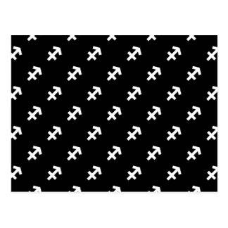 Carte Postale Motif de Sagittaire noir et blanc