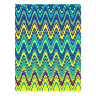 Carte Postale Motif de zigzag coloré de vague