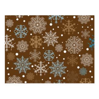 Carte Postale Motif drôle de flocons de neige de Brown