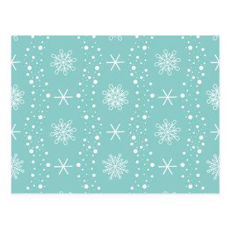 Carte Postale Motif drôle de flocons de neige de turquoise