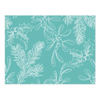 Carte Postale Motif floral de Noël de turquoise