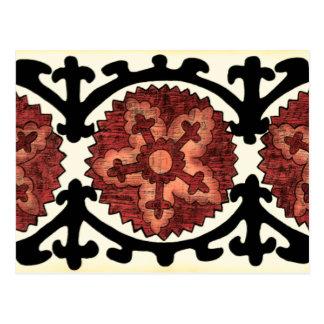 Carte Postale Motif floral décoratif de style de Suzani